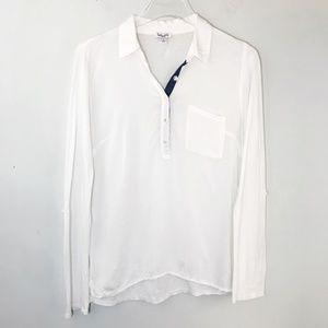 Splendid Popover Shirt Collared Roll Tab Sleeve XS